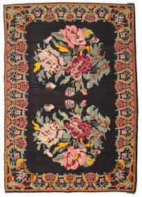 薔薇 キリム Moldavia 絨毯 190X282 オリエンタル 手織り 黒/茶 (ウール, モルドバ)