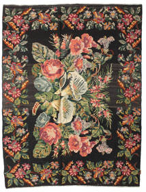Rose Kelim Moldavia Rug 220X280 Authentic  Oriental Handwoven Black/Dark Brown (Wool, Moldova)
