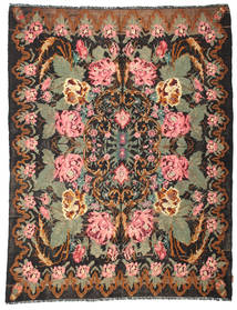 Rose Kelim Moldavia Rug 197X252 Authentic  Oriental Handwoven Black/Brown (Wool, Moldova)