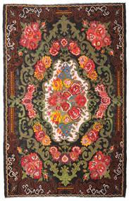 Kilim Rose Moldavia Dywan 220X344 Orientalny Tkany Ręcznie Ciemnobrązowy/Czarny (Wełna, Mołdawia)