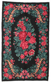 Rose Kelim Moldavia Rug 180X295 Authentic  Oriental Handwoven Black/Dark Turquoise   (Wool, Moldova)