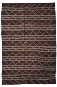 Kelim Semiantik Turkisk Matta 233X340 Äkta Orientalisk Handvävd Svart/Mörkbrun (Ull, Turkiet)