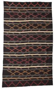 Kelim Semiantik Turkisk Matta 207X353 Äkta Orientalisk Handvävd Mörkbrun/Mörkgrå (Ull, Turkiet)