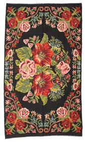 Rose Kelim Moldavia Rug 188X328 Authentic  Oriental Handwoven Black/Crimson Red (Wool, Moldova)