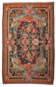 Rose Kelim Moldavia Rug 7′1″x11′4″ Authentic  Oriental Handwoven Olive Green/Black (Wool, Moldova)