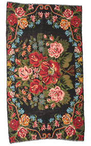 Kilim Rose Moldavia Dywan 178X324 Orientalny Tkany Ręcznie Czarny/Ciemnobrązowy (Wełna, Mołdawia)