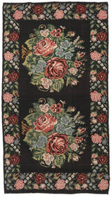 Rose Kelim Moldavia Rug 194X364 Authentic  Oriental Handwoven Hallway Runner  Black/Dark Green (Wool, Moldova)