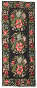 Rose Kelim Moldavia Rug 180X462 Authentic  Oriental Handwoven Hallway Runner  Black/Dark Green (Wool, Moldova)