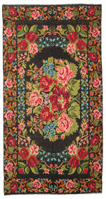 Rose Kelim Moldavia Rug 214X411 Authentic  Oriental Handwoven Black/Olive Green (Wool, Moldova)