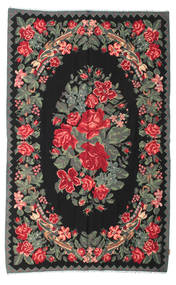 Rose Kelim Moldavia Rug 174X284 Authentic  Oriental Handwoven Black/Dark Grey (Wool, Moldova)