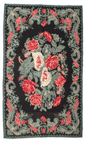 Rose Kelim Moldavia Rug 194X323 Authentic  Oriental Handwoven Black/Dark Grey (Wool, Moldova)