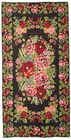Rose Kelim Moldavia Rug 210X429 Authentic  Oriental Handwoven Black/Dark Brown (Wool, Moldova)