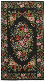 Rose Kelim Moldavia Rug 210X390 Authentic  Oriental Handwoven Black/Dark Brown (Wool, Moldova)