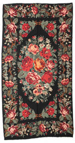 Rose Kelim Moldavia Rug 184X355 Authentic  Oriental Handwoven Black/Dark Grey (Wool, Moldova)