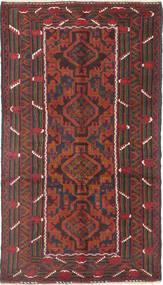 Beluch Tæppe 111X195 Ægte Orientalsk Håndknyttet Mørkerød/Sort (Uld, Afghanistan)