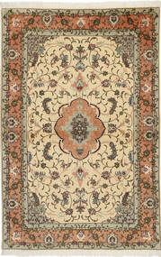 Tabriz 50 Raj Med Silke Matta 100X155 Äkta Orientalisk Handknuten Ljusbrun/Mörkbeige (Ull/Silke, Persien/Iran)