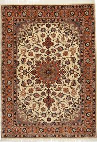 Tebriz 50 Raj Z Dodatkiem Jedwabiu Dywan 106X150 Orientalny Tkany Ręcznie Jasnobrązowy/Ciemnoczerwony (Wełna/Jedwab, Persja/Iran)