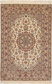 Isfahan Silk Warp Rug 114X162 Authentic  Oriental Handknotted Light Brown/Brown (Wool/Silk, Persia/Iran)