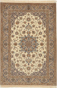 Isfahan Silk Warp Rug 110X162 Authentic Oriental Handknotted Light Brown/Brown (Wool/Silk, Persia/Iran)