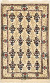 Isfahan Urzeală De Mătase Covor 100X158 Orientale Lucrat Manual Maro Deschis/Bej (Lână/Mătase, Persia/Iran)