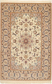 Isfahan Silk Warp Rug 110X173 Authentic Oriental Handknotted Light Brown/Beige/Brown (Wool/Silk, Persia/Iran)