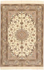 Ispahan Chaîne De Soie Tapis 110X160 D'orient Fait Main Marron Clair/Beige/Marron (Laine/Soie, Perse/Iran)