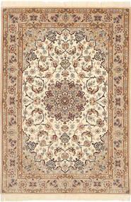 Isfahan Silkerenning Teppe 110X160 Ekte Orientalsk Håndknyttet Lysbrun/Beige/Brun (Ull/Silke, Persia/Iran)