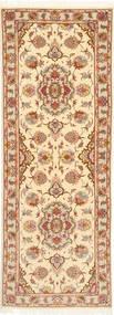 Tabriz 50 Raj Med Silke Matta 80X225 Äkta Orientalisk Handknuten Hallmatta Ljusrosa/Brun (Ull/Silke, Persien/Iran)