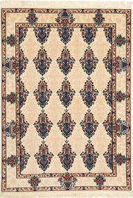 Isfahan Silkesvarp Matta 110X160 Äkta Orientalisk Handknuten Beige/Ljusbrun (Ull/Silke, Persien/Iran)