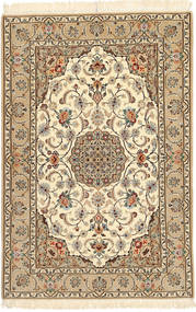 Isfahan Selyemfonal Szőnyeg 110X170 Keleti Csomózású Világosbarna/Bézs/Barna (Gyapjú/Selyem, Perzsia/Irán)