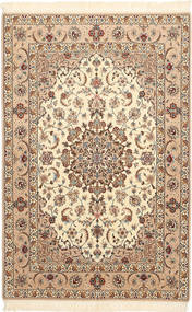 Isfahan Silk Warp Rug 106X163 Authentic Oriental Handknotted Beige/Light Brown/Brown (Wool/Silk, Persia/Iran)