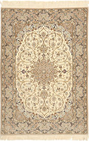 Isfahan Silk Warp Rug 110X158 Authentic  Oriental Handknotted Light Brown/Beige (Wool/Silk, Persia/Iran)