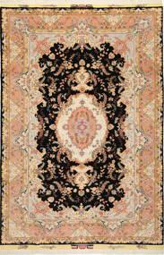Tabriz 50 Raj Med Silke Teppe 197X291 Ekte Orientalsk Håndknyttet Lysbrun/Svart (Ull/Silke, Persia/Iran)