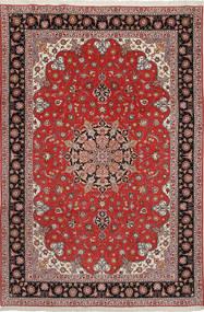 Tabriz 50 Raj Med Silke Teppe 204X305 Ekte Orientalsk Håndknyttet Mørk Rød/Lysbrun (Ull/Silke, Persia/Iran)