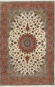 Tabriz 50 Raj Silkillä Matto 200X312 Itämainen Käsinsolmittu Vaaleanruskea/Tummanruskea (Villa/Silkki, Persia/Iran)