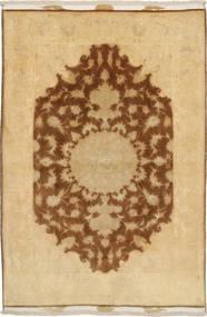 Tabriz 50 Raj Med Silke Teppe 98X155 Ekte Orientalsk Håndknyttet Lysbrun/Mørk Beige/Brun (Ull/Silke, Persia/Iran)