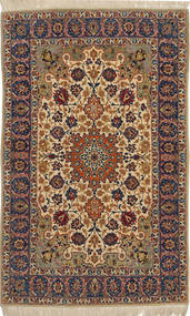 Isfahan Silk Warp Rug 104X170 Authentic  Oriental Handknotted Light Brown/Dark Red (Wool/Silk, Persia/Iran)