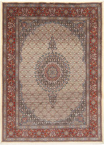 Moud Rug 203X279 Authentic  Oriental Handknotted Light Brown/Dark Grey (Wool/Silk, Persia/Iran)
