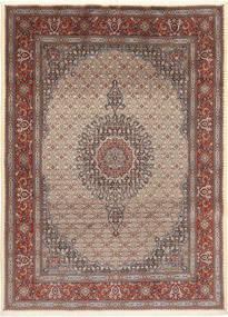 Moud Rug 203X279 Authentic  Oriental Handknotted Light Brown/Dark Grey (Wool/Silk, Persia/Iran)