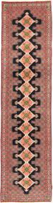 Senneh Tapis 91X392 D'orient Fait Main Tapis Couloir Marron/Rouge Foncé (Laine, Perse/Iran)