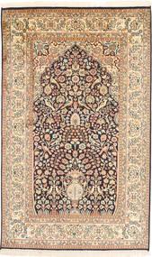 Kashmir 100% Silkki Matto 93X152 Itämainen Käsinsolmittu Beige/Ruskea (Silkki, Intia)