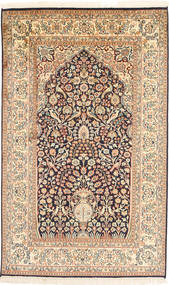 Kashmir Ren Silke Teppe 93X152 Ekte Orientalsk Håndknyttet Beige/Brun (Silke, India)