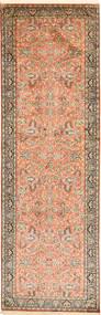 Kashmir Äkta Silke Matta 96X305 Äkta Orientalisk Handknuten Hallmatta Brun/Ljusrosa/Ljusbrun (Silke, Indien)