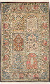 Kashmir Pure Silk Rug 96X155 Authentic Oriental Handknotted Light Brown/Brown (Silk, India)