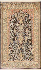 Kashmir Pure Silk Rug 91X152 Authentic Oriental Handknotted Light Brown/Dark Beige (Silk, India)