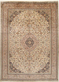 Kashmir Pure Silk Rug 249X342 Authentic  Oriental Handknotted Light Brown/Brown (Silk, India)