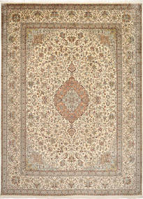Kashmir Pure Silk Rug 248X340 Authentic  Oriental Handknotted Light Brown/Brown/Beige (Silk, India)