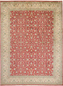 Kashmir Pure Silk Rug 246X332 Authentic  Oriental Handknotted Light Brown (Silk, India)