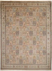 Kashmir Ren Silke Teppe 274X372 Ekte Orientalsk Håndknyttet Lysbrun/Mørk Brun Stort (Silke, India)