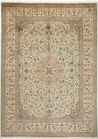 Kashmir Pure Silk Rug 246X342 Authentic  Oriental Handknotted Light Brown/Beige (Silk, India)